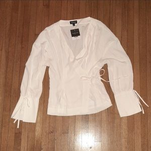 Topshop wrap blouse with ties